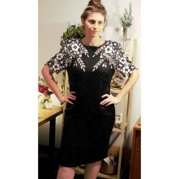 Stenay Dresses & Skirts - Vintage Embellished Black Silk Dress open Sz 14